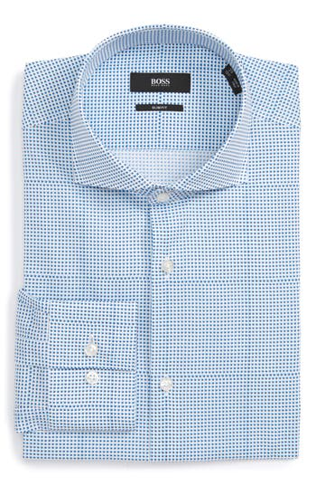Men's Boss Slim Fit Geometric Dress Shirt