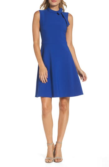 Maggy London Bow Fit & Flare Dress, Blue
