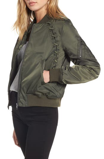 Women's Steve Madden Lace Detail Bomber Jacket, Size Small - Green