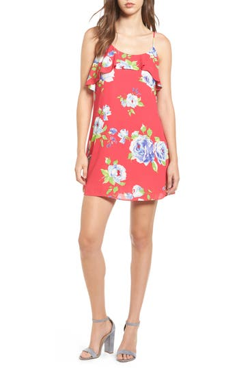 Everly Floral Print Ruffle Front Dress, Pink