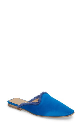Shellys London Kat Fringed Loafer Mule Blue