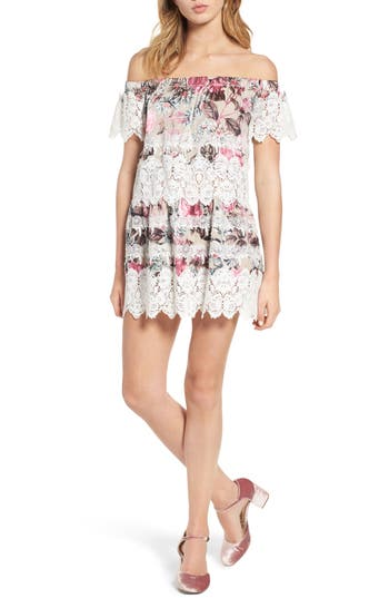 For Love & Lemons Cadence Off The Shoulder Dress, Pink
