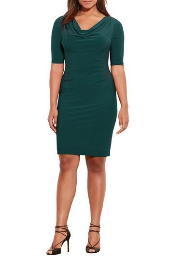 Plus Size Lauren Ralph Lauren Carleton Cowl Neck Jersey Dress, Green