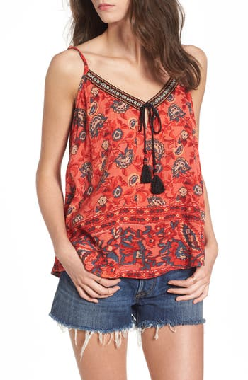 Women's Band Of Gypsies Bohemian Swing Camisole, Size Small - Red
