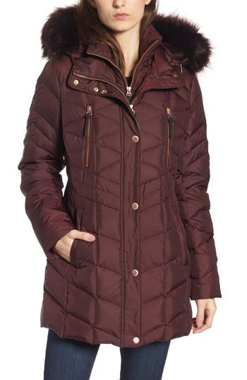 Women's Andrew Marc Marley 30 Coat With Detachable Faux Fur, Size X-Small - Red