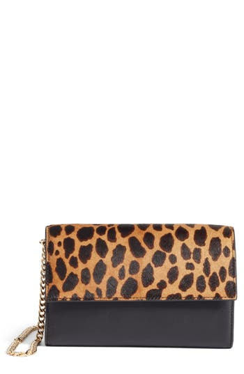 Vince Camuto Fayna Genuine Calf Hair & Leather Foldover Clutch -