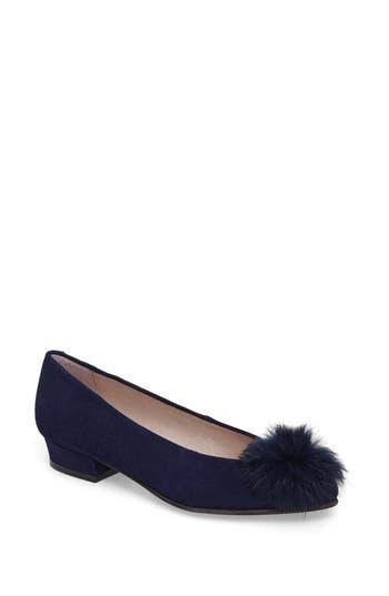 Patricia Green Sandy Flat With Genuine Rabbit Fur Pom, Blue