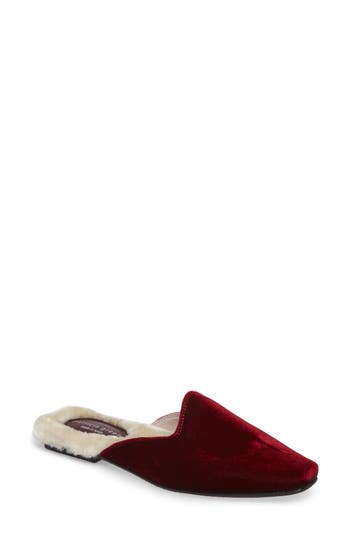 Patricia Green Velvet Mule With Faux Fur Lining, Burgundy