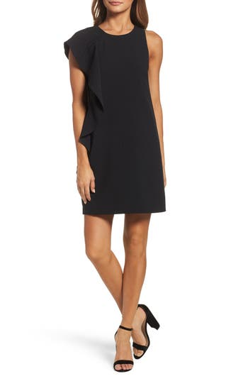 Chelsea28 Asymmetrical Ruffle Shift Dress, Black