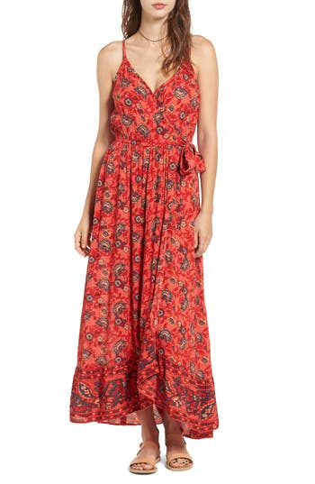 Women's Band Of Gypsies Bohemian Wrap Dress, Size Medium - Red