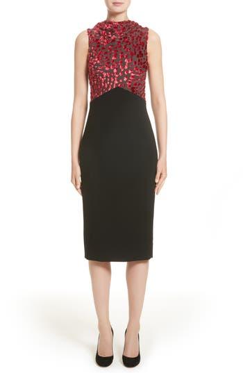 Jason Wu Velvet Devore & Compact Crepe Dress, Black
