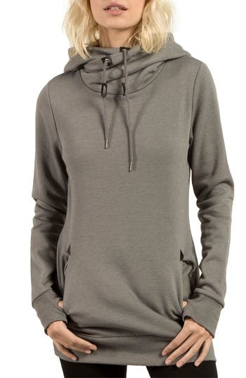 Volcom Walk On By Funnel Neck Hoodie, Grey