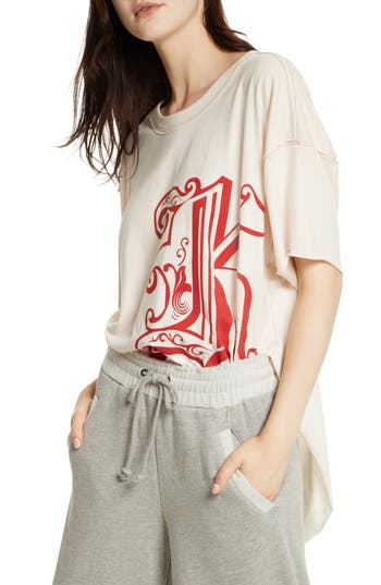 Free People Letter Graphic Tee, Pink