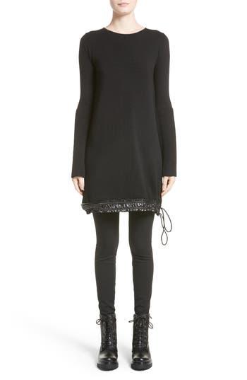 Moncler Drawstring Hem Tricot Knit Dress, Black