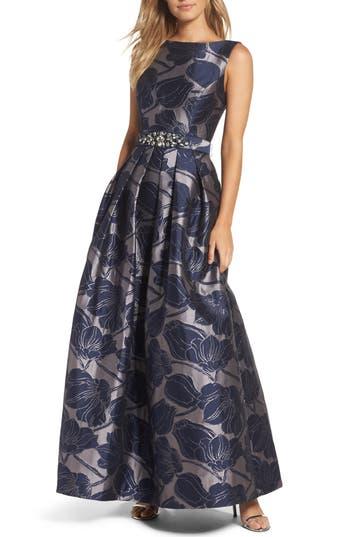 Eliza J Embellished Belt Metallic Jacquard Ballgown, Blue
