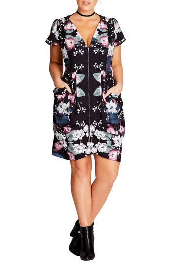 Plus Size City Chic Saigon Floral Tunic Dress, Black