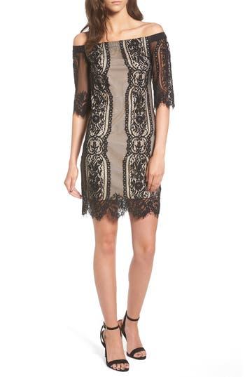 Lush Lace Off The Shoulder Dress, Black