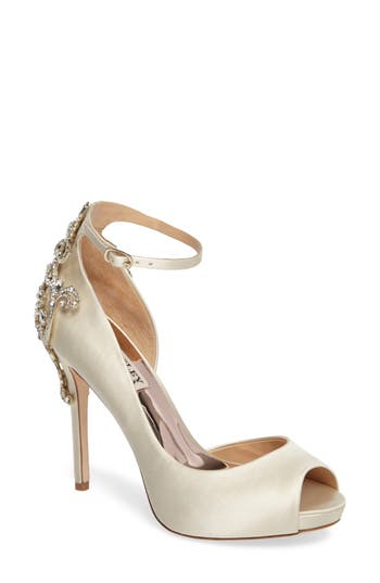 Badgley Micshka Karson Embellished Peep Toe Pump, Ivory