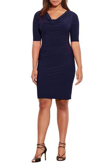 Plus Size Lauren Ralph Lauren Carleton Cowl Neck Jersey Dress, Blue