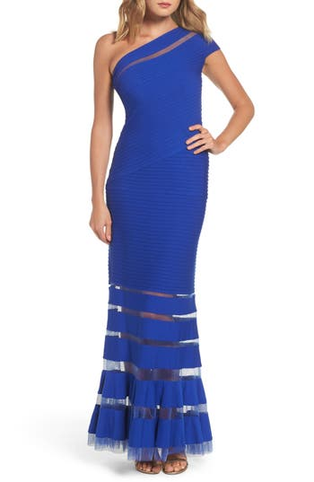 Tadashi Shoji One Shoulder Illusion Gown, Blue
