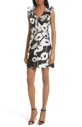 Milly Sadie Ruffle Poppy Print Dress, Black