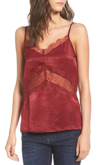 Women's Soprano Lace Trim Camisole, Size X-Small - Burgundy