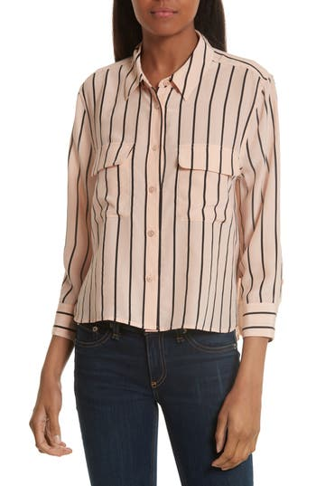 Women's Equipment Signature Crop Stripe Silk Shirt