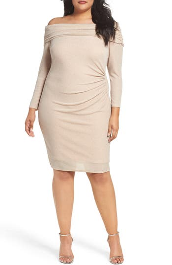 Plus Size Eliza J Off The Shoulder Metallic Knit Sheath Dress, Pink