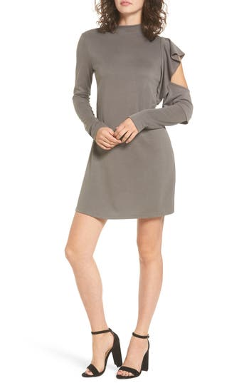 Everly Side Ruffle Knit Dress, Brown
