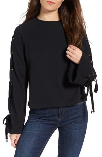 Women's Bp. Lace-Up Sleeve Pullover