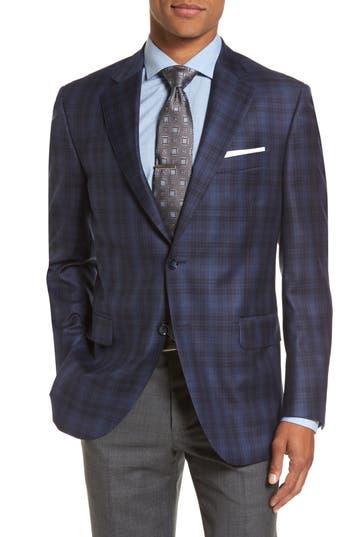 Big & Tall Peter Millar Flynn Classic Fit Plaid Wool Sport Coat, 0 L - Blue