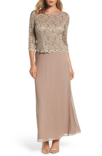 Alex Evenings Mock Two-Piece Dress, Beige