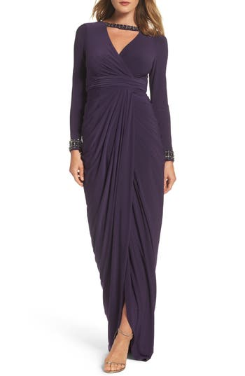 Adrianna Papell Beaded Jersey Gown, Purple