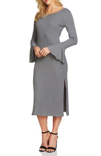 1.state Bell Sleeve Midi Dress, Grey