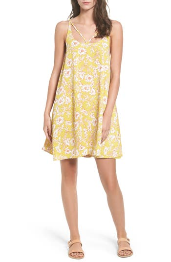 Bp. Print Strappy Slipdress, Yellow