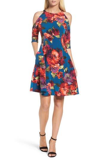 Maggy London Cold Shoulder Fit & Flare Dress, Blue