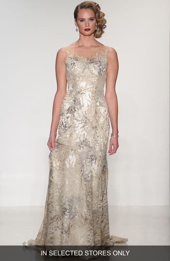 Matthew Christopher Thyme Sleeveless Illusion Embroidered Lace Gown