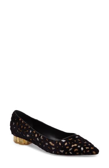 Salvatore Ferragamo Bari Flower Heel Flat, Black