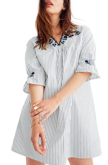 Madewell Stripe Embroidered Breeze Dress, Grey