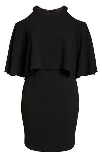 Plus Size Adrianna Papell Cold Shoulder Crepe Sheath Dress, Black