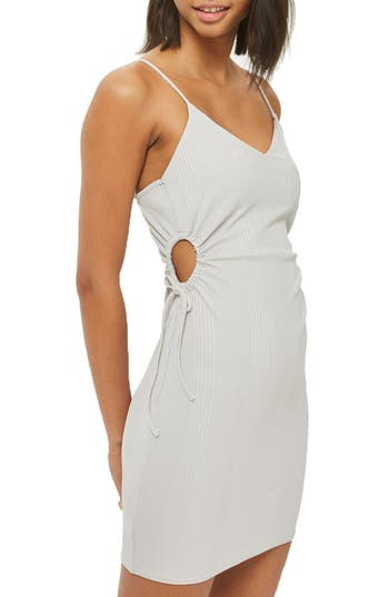Topshop Drawstring Cutout Body-Con Dress, US (fits like 0) - Grey