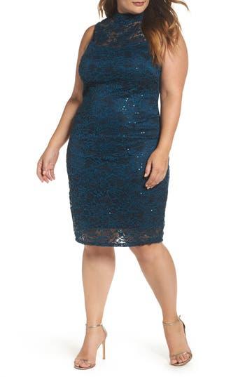 Plus Size Marina Sequin Lace Sheath Dress, Green