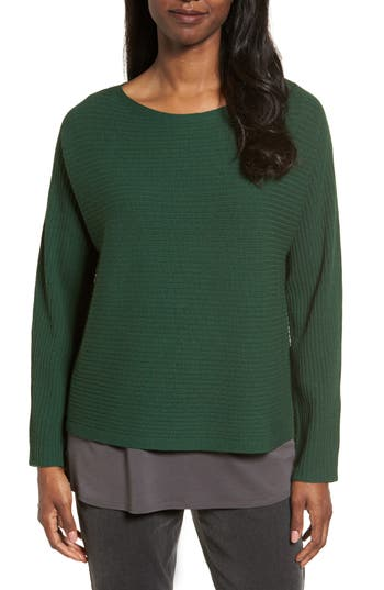 Eileen Fisher Boxy Ribbed Wool Sweater, Green