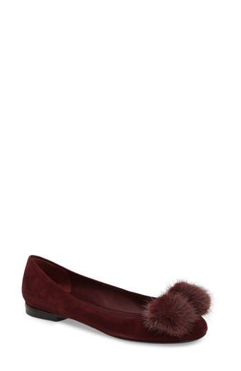 Salvatore Ferragamo Genuine Mink Fur Flat, Burgundy