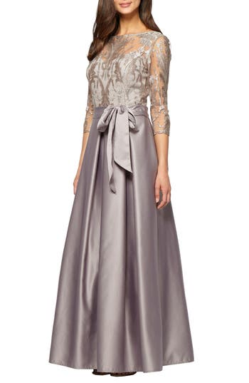 Alex Evenings Embroidered Bodice Ballgown, Metallic