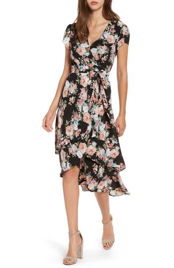 Women's Wayf Oleander Wrap Midi Dress, Size Medium - Black