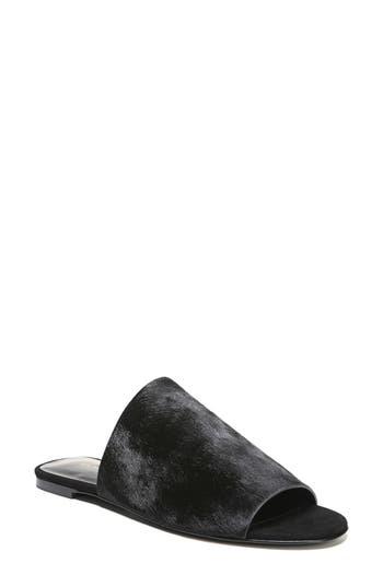 Via Spiga Heather 2 Genuine Calf Hair Slide Sandal- Black