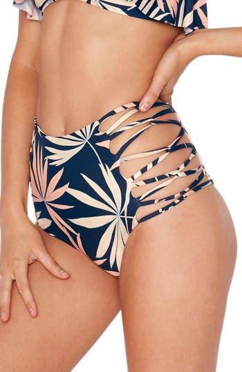 L Space Tripp High Waist Bikini Bottoms, Blue