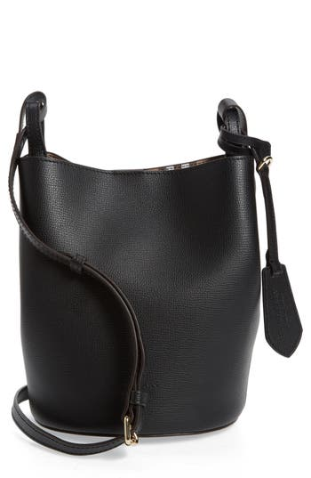 Burberry Small Lorne Leather Bucket Bag - Black