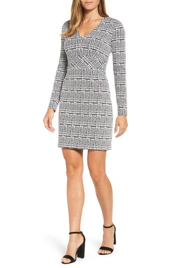Michael Michael Kors Plaid Jacquard Fit & Flare Dress, Black